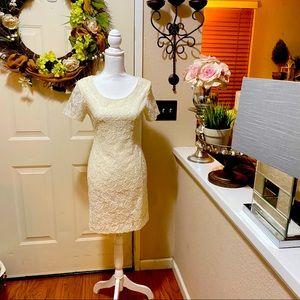 Beautiful Vintage Adrianna Nude Lace Overlay Dress